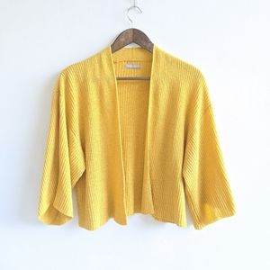 Anthropologie Yellow Cropped Knit Kimono One Size